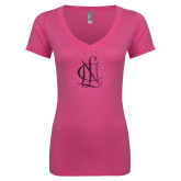 Next Level Ladies Junior Fit Ideal V Pink Tee-Monogram  Foil