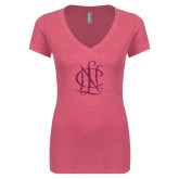 Next Level Ladies Vintage Pink Tri Blend V Neck Tee-Monogram Hot Pink Glitter