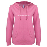 ENZA Ladies Hot Pink V Notch Raw Edge Fleece Hoodie-Wordmark