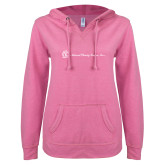 ENZA Ladies Hot Pink V Notch Raw Edge Fleece Hoodie-Primary Mark Flat