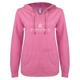 ENZA Ladies Hot Pink V Notch Raw Edge Fleece Hoodie-Tagline