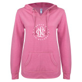ENZA Ladies Hot Pink V Notch Raw Edge Fleece Hoodie-Forever NCL