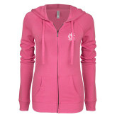 ENZA Ladies Hot Pink Light Weight Fleece Full Zip Hoodie-Monogram