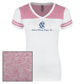 Ladies White/Heathered Pink Juniors Varsity V Neck Tee-Primary Mark