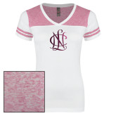 Ladies White/Heathered Pink Juniors Varsity V Neck Tee-Monogram  Foil