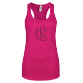 Next Level Ladies Raspberry Ideal Racerback Tank-Monogram Hot Pink Glitter