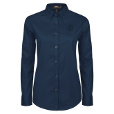 Ladies Navy Twill Button Down Long Sleeve-Monogram
