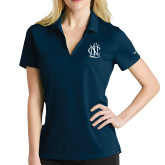 Ladies Nike Golf Dri Fit Navy Micro Pique Polo-Monogram