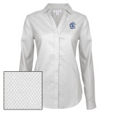 Ladies Red House Diamond Dobby White Long Sleeve Shirt-Monogram