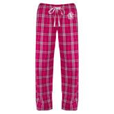 Ladies Dark Fuchsia/White Flannel Pajama Pant-Monogram