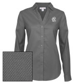 Ladies Red House Diamond Dobby Charcoal Long Sleeve Shirt-Monogram