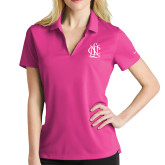 Ladies Nike Golf Dri Fit Fuchsia Micro Pique Polo-Monogram