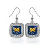 Crystal Studded Square Pendant Silver Dangle Earrings-UNC Bear Logo