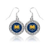 Crystal Studded Round Pendant Silver Dangle Earrings-UNC Bear Logo