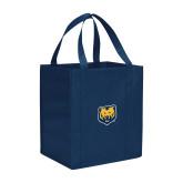 Non Woven Navy Grocery Tote-UNC Bear Logo