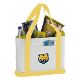 Contender White/Gold Canvas Tote-UNC Bear Logo