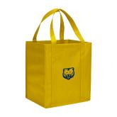 Non Woven Gold Grocery Tote-UNC Bear Logo