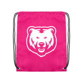 Pink Drawstring Backpack-UNC Bear Logo