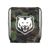 Camo Drawstring Backpack-UNC Bear Logo