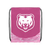 Nylon Zebra Pink/White Patterned Drawstring Backpack-UNC Bear Logo