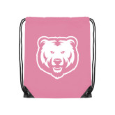 Light Pink Drawstring Backpack-UNC Bear Logo