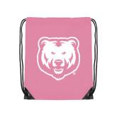 Light Pink Drawstring Backpack-UNC Bear Logo