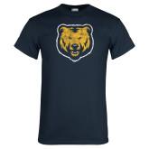 Navy T Shirt-Bear Mascot Distressed