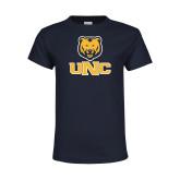 Youth Navy T Shirt-Interlocked UNC and Bear