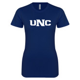 Next Level Ladies SoftStyle Junior Fitted Navy Tee-UNC