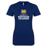 Next Level Ladies SoftStyle Junior Fitted Navy Tee-Northern Colorado Stacked Logo