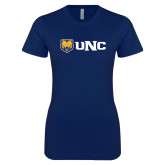 Next Level Ladies SoftStyle Junior Fitted Navy Tee-UNC Bears