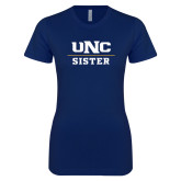 Next Level Ladies SoftStyle Junior Fitted Navy Tee-Sister