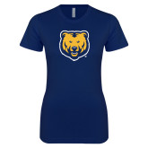 Next Level Ladies SoftStyle Junior Fitted Navy Tee-UNC Bear Logo