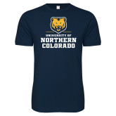 Next Level SoftStyle Navy T Shirt-Northern Colorado Stacked Logo