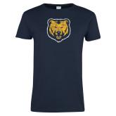 Ladies Navy T Shirt-Bear Mascot Distressed