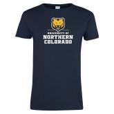 Ladies Navy T Shirt-Northern Colorado Stacked Logo