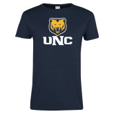 Ladies Navy T Shirt-UNC Bear Stacked