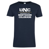 Ladies Navy T Shirt-UNC Collegiate Stacked