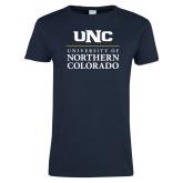Ladies Navy T Shirt-UNC Academic Block