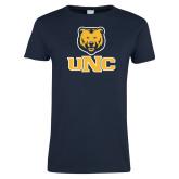 Ladies Navy T Shirt-Interlocked UNC and Bear