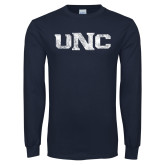Navy Long Sleeve T Shirt-UNC Distressed