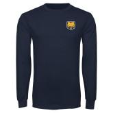 Navy Long Sleeve T Shirt-UNC Bear Logo