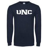 Navy Long Sleeve T Shirt-UNC