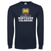 Navy Long Sleeve T Shirt-Northern Colorado Stacked Logo