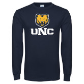 Navy Long Sleeve T Shirt-UNC Bear Stacked
