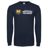 Navy Long Sleeve T Shirt-University of Northern Colorado Horizontal