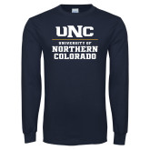 Navy Long Sleeve T Shirt-UNC Collegiate Stacked