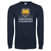 Navy Long Sleeve T Shirt-University of Northern Colorado Academic Stacked