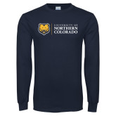 Navy Long Sleeve T Shirt-University of Northern Colorado Academic Horizontal