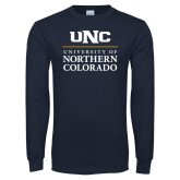 Navy Long Sleeve T Shirt-UNC Academic Block